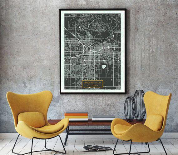 BAKERSFIELD California City Map Bakersfield California Art