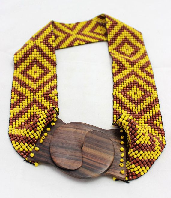 Yellow belt, multicolor Elastic Wooden Bead Belt, Beads Belt with Wood Buckle Clasp Multi Look, Handmade Belt With Natural Wood Buckle