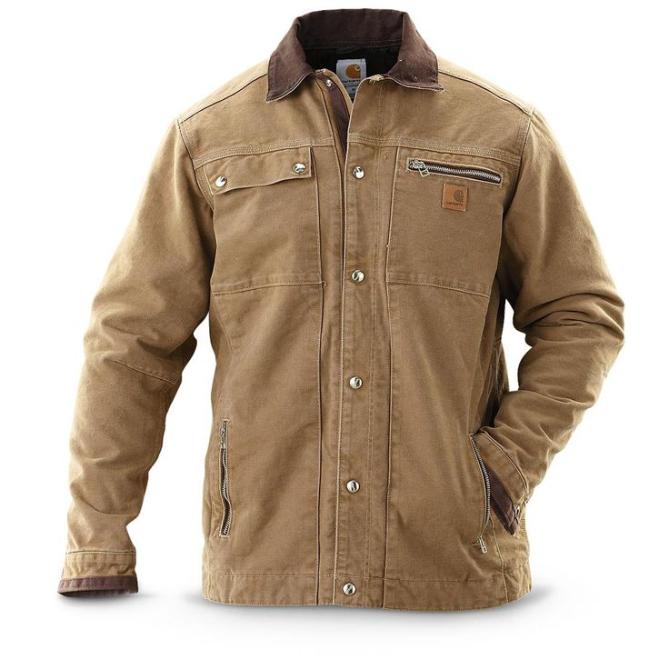 carhartt sandstone multipocket jacket a warm hardy on cheap insulated coveralls for men id=49063