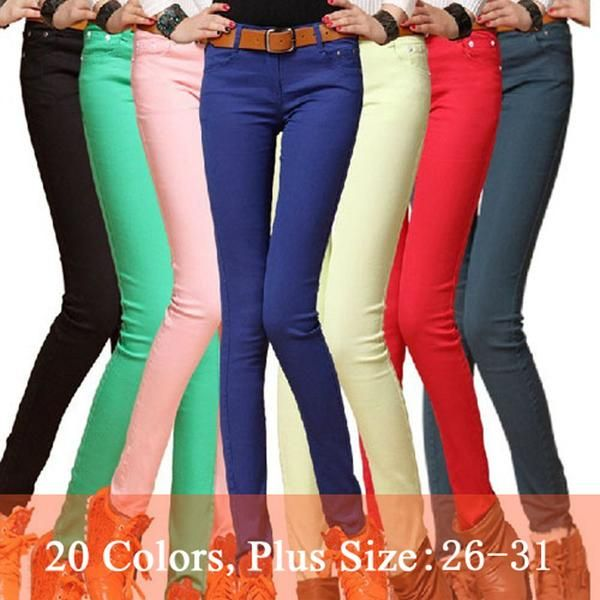 Fashion Women Sexy Candy Color Pencil Pants Casual Skinny Cotton Trousers jeans
