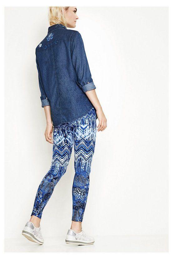 Leggings azules con estampado étnico - Larita | Desigual.com C