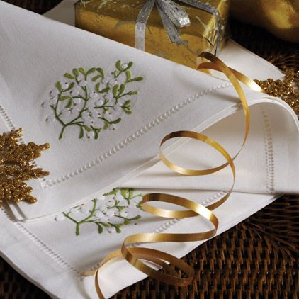 Mistletoe Embroidered Napkins