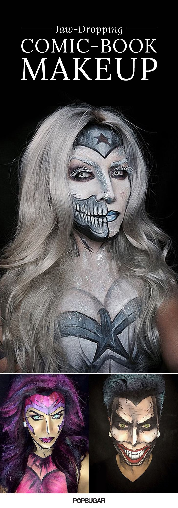 These jaw-dropping comic-book makeup looks are perfect for Halloween!