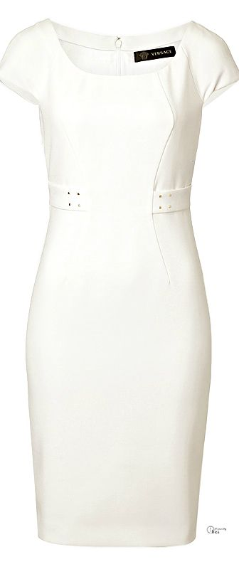 Versace ● White Sheath Dress - like the belt tabs at the waist...subtle definition
