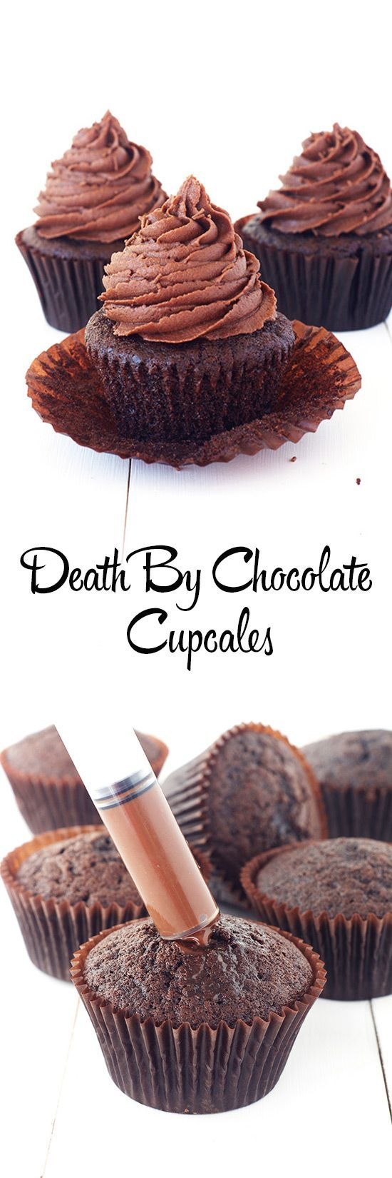 Easy Chocolate Cupcakes filled with chocolate ganache from Sweetest Menu