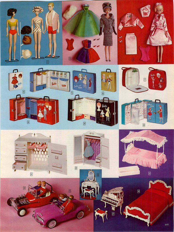 Midge, Fashion Queen Barbie, Ken, Barbie Fashions, Doll Cases, Susy Goose Queen Size Chifferobe, Wardrobe, Canopy Bed, Chest, Vanity & Bench, Grand Piano and Queen Size Bed, Hot Rod and Austin-Healey from the John Plain Company Catalog, 1965