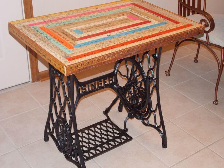 Yardstick tabletop on Singer treadle sewing machine base