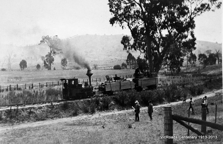 Rubicon Timber Coy's Tramway at deviation from Main Road near Alexandra 1914. VicRoads Centenary 1913-2013.