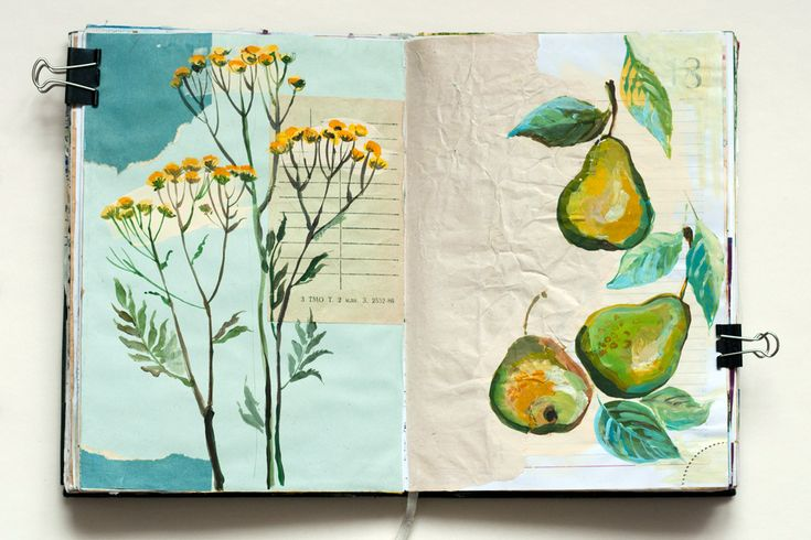 vaneeva sketchbook -- painted and collaged pages, mixed media. Floral and pears in blues and greens and yellows.