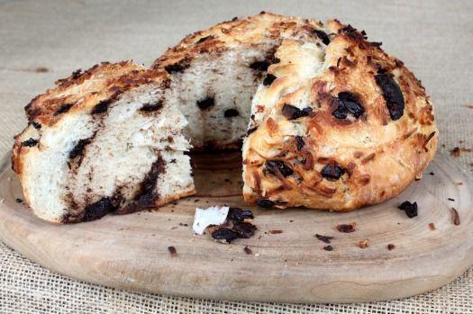 Dark Chocolate Coconut No knead bread variation