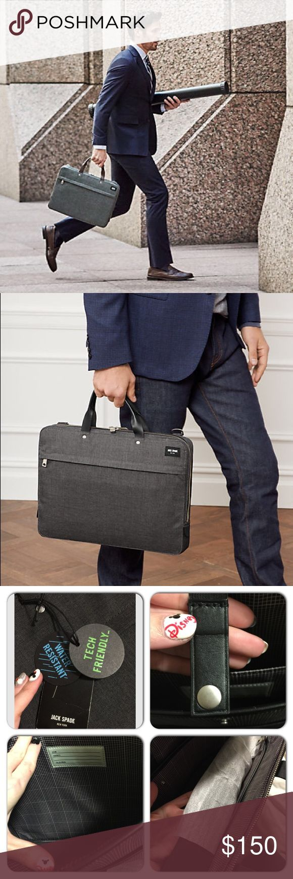 """HPJack Spade New York Tech Oxford Slim Brief Timeless,streamlined & designed for everyday utility.Bought this one for """"my paper"""" but it's way too """"men"""" .This Charcoal Brief offers the water resistant performance of a modern technical material, along with timeless menswear-inspired styling. The streamlined briefcase is detailed with custom die-cast Jack Spade hardware, bridle leather trim, and durable nylon lining. Functional features include external slip and zipper pockets, interior…"""