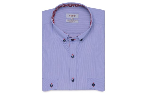 NON FITTED Blue Checkered Shirt Lining Button Down Collar