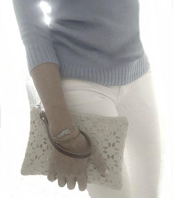 Simple Clutch Bag, Wristlet, Linen Clutch, Neutral, Natural Linen and Leather Bag for Women, Simple Purse, Handbag, Spring Clutch