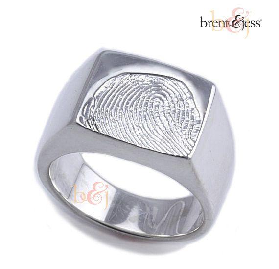 Custom fingerprint Mens  Signet Ring Sterling Silver