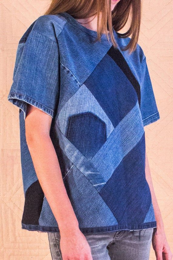 Recycled Denim Patchwork Top Unisex Handmade By Silkdenim One Etsy In 2020 Patchwork Clothes Recycled Denim Upcycled Fashion