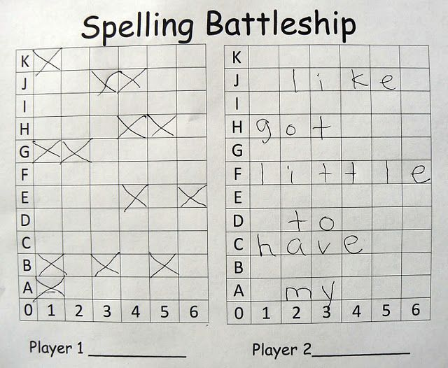 Spelling battleship 2 player game, each player inserts his word list in spaces going across (one letter per box). Players take turns guessing coordinates. If they miss, they mark it on their board. If they hit a letter, they keep guessing until they miss. If they sink a word, the player marks it off of his list. The goal of the game is to sink all of your opponent's words.