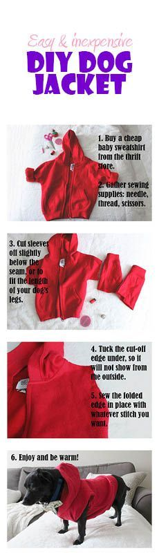 Easy DIY dog jacket from baby clothes | murphyandmouse - Tap the pin for the most adorable pawtastic fur baby apparel! You'll love the dog clothes and cat clothes! <3 - Tap the link to shop on our official online store! You can also join our affiliate and/or rewards programs for FREE!