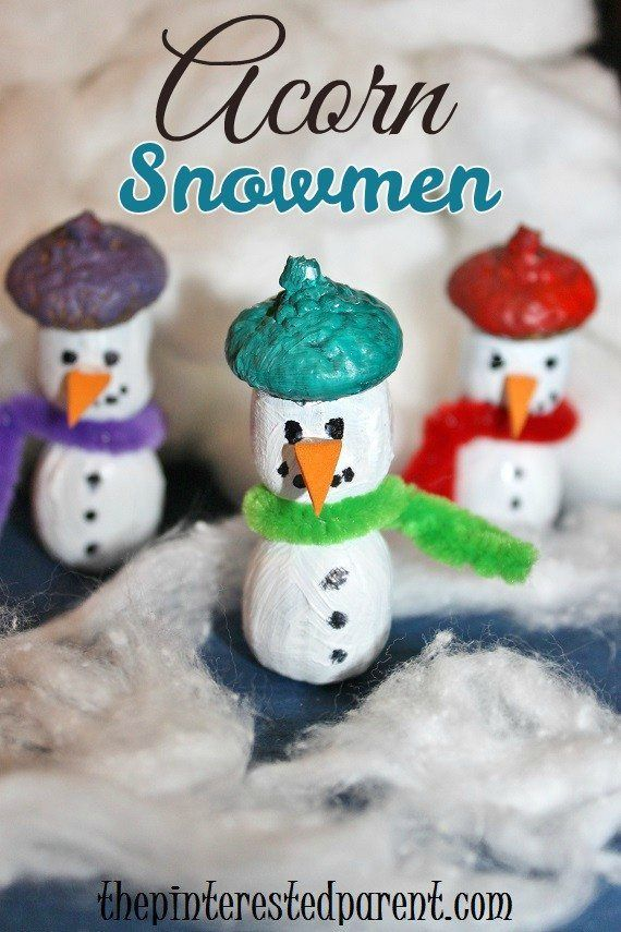 Acorn Snowmen Craft - kid's nature crafts for winter