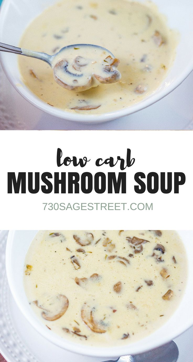 two photo collage of cream of mushroom soup in a white bowl