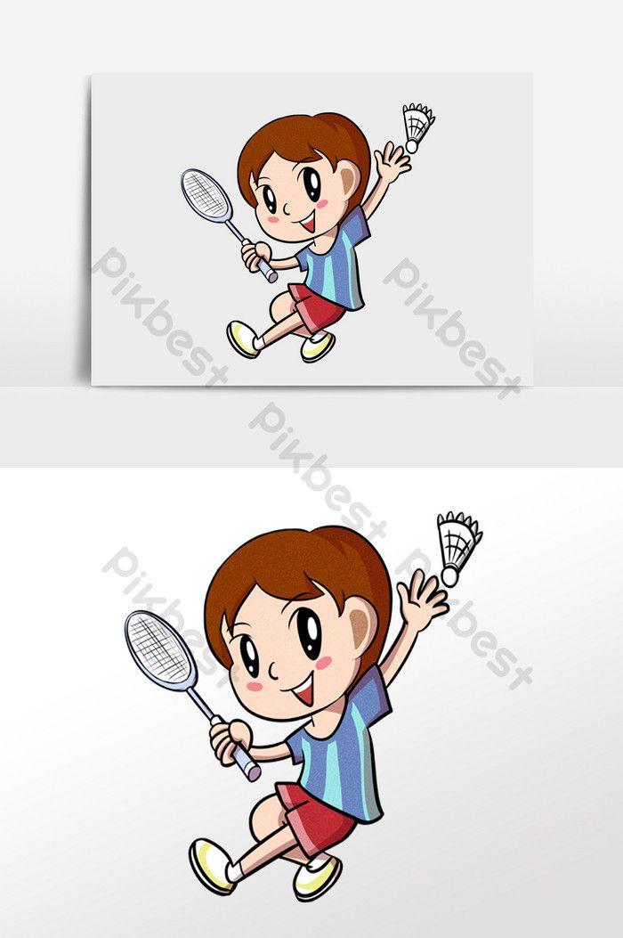 Kartun Anak Laki Laki Memainkan Elemen Ilustrasi Olahraga Bulutangkis Ilustrasi Templat Psd Unduhan Gratis Pikbest Sport Illustration Cartoon Boy Badminton Sport