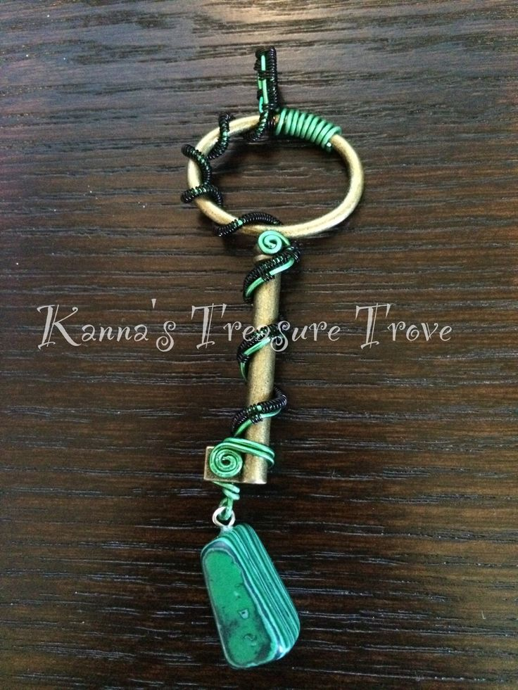 Green and Black Antique Key Replica wire wrapped with Malachite accent necklace by KannasTreasureTrove on Etsy