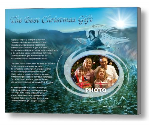 This unique Christmas art poem with an angel mountain theme is sure to become a family treasure when personalized with your photo. The 11 x 14 artwork is available in your choice of print only, canvas print, canvas framed, and silver and gold double-matted frames - all with free shipping in the US.