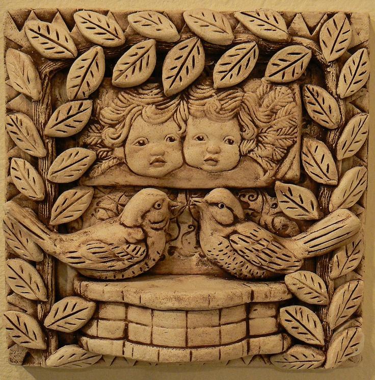 Ceramic Art Tile : Ceramic tile two birds cherubs ceramics