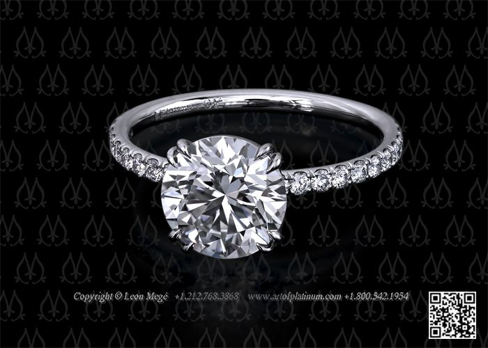 Solitaire double prong diamond engagement ring by Leon Mege