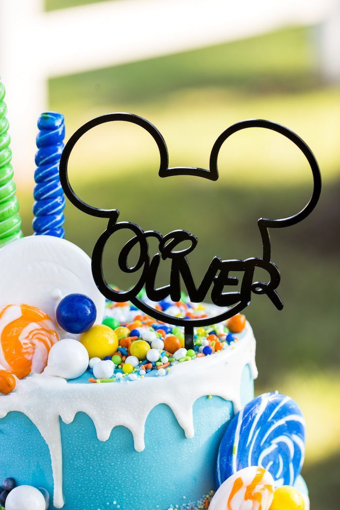Custom Mickey Mouse cake topper from a Mickey Mouse & Friends Ice Cream Party on Kara's Party Ideas | KarasPartyIdeas.com (26)