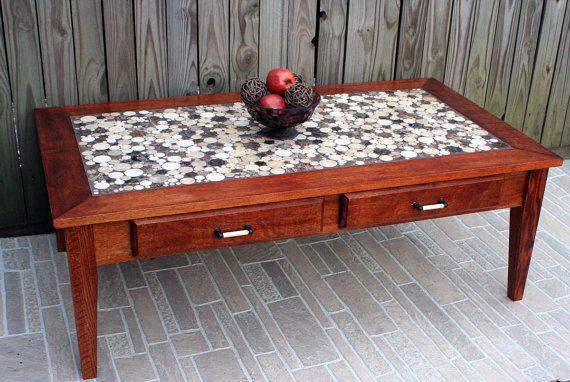 Coffee Table, Circular Marble Tile Mosaic, Contemporary, Mahogany Finish - Handmade