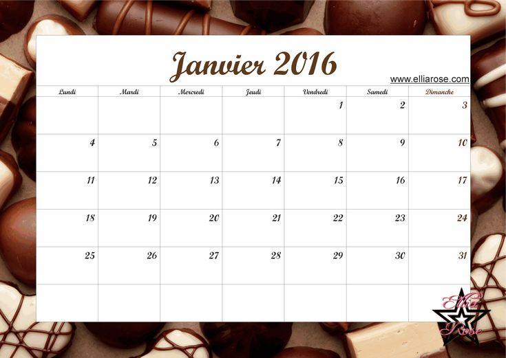 Pour être organisé tout au long de cette année 2016, voici un calendrier gratuit à imprimer avec un thème délicieux au chocolat sans calorie ;) www.elliarose.com
