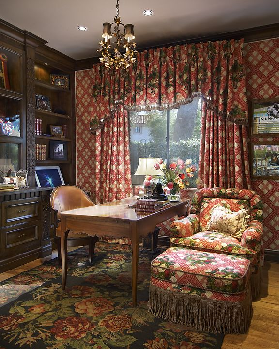 An English Ladyu0027s Study Features Upholstered Walls And Custom Bookshelves  Made From Antique Carved Moldings.