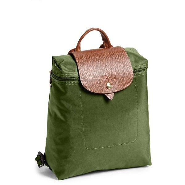 Women's Longchamp 'Le Pliage' Backpack (€115) ❤ liked on Polyvore featuring bags, backpacks, khaki, longchamp rucksack, water resistant backpack, knapsack bag, day pack backpack and daypack bag