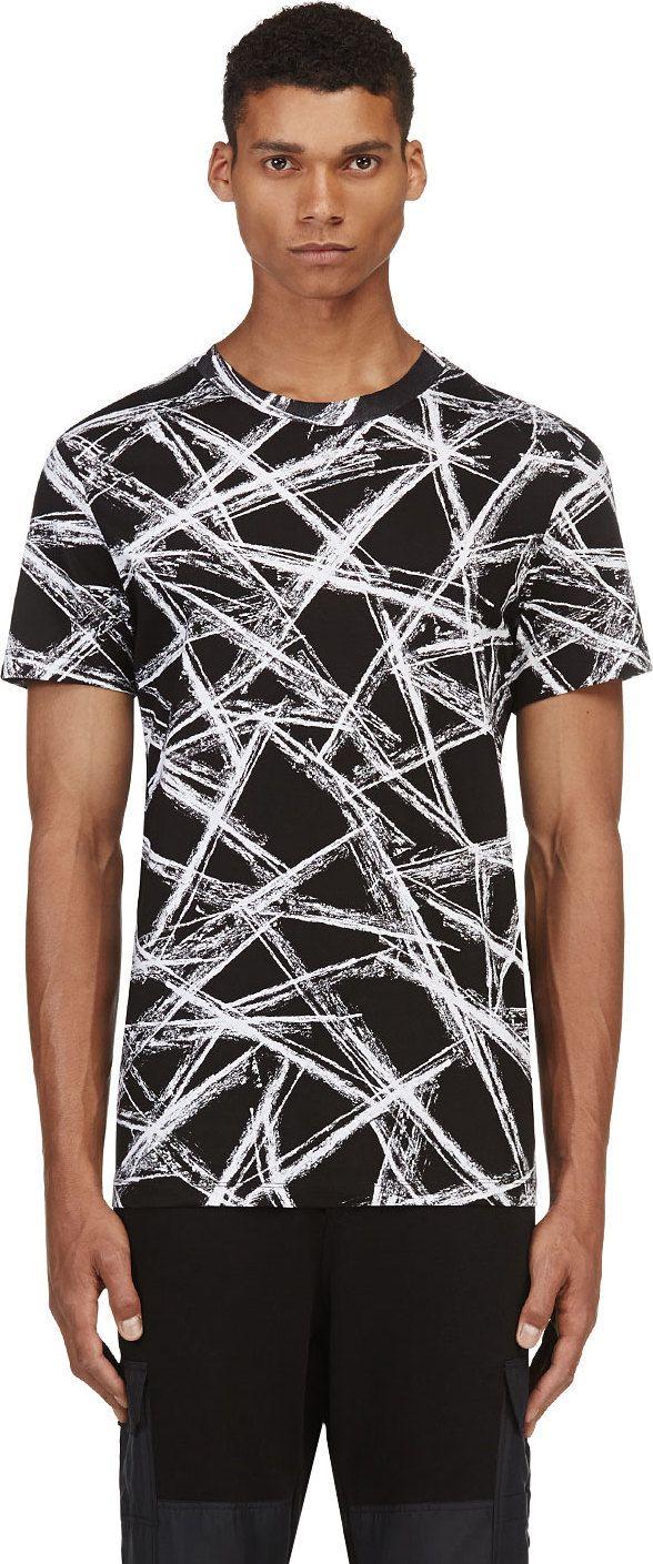 McQ Alexander Mcqueen - Black & White Scratch T-Shirt   SSENSE