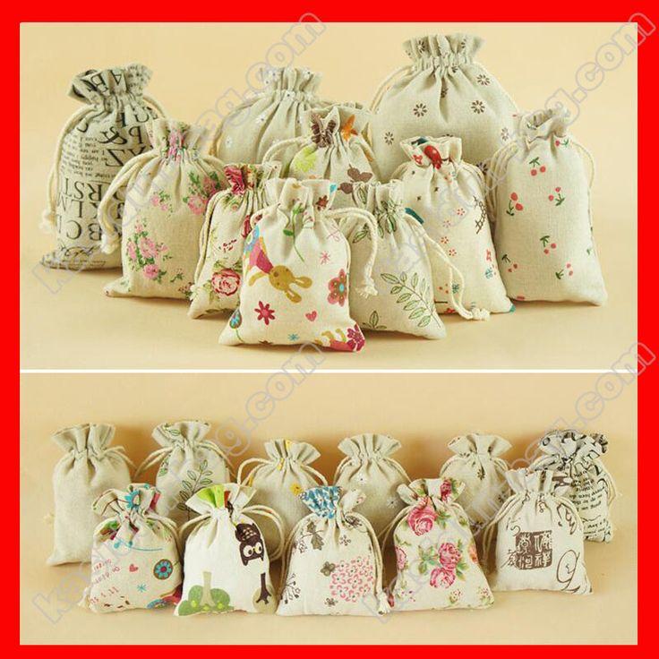 (200pcs/lot) four size availalbe wholesale linen cotton jute drawstrinng pouch gift bag fabric