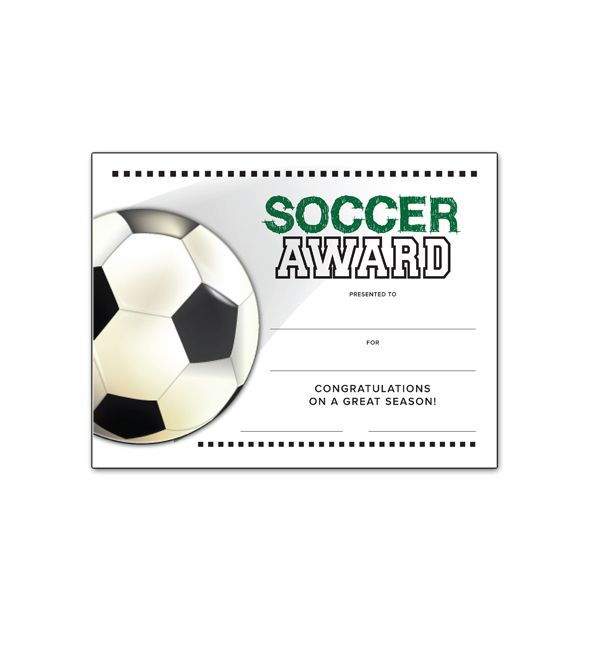 Soccer End of Season Award Certificate free download
