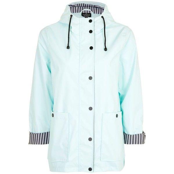 Topshop Petite Rain Mac ($63) ❤ liked on Polyvore featuring outerwear, coats, mint, petite coats, mint coat, topshop coats, blue coat and hooded coat