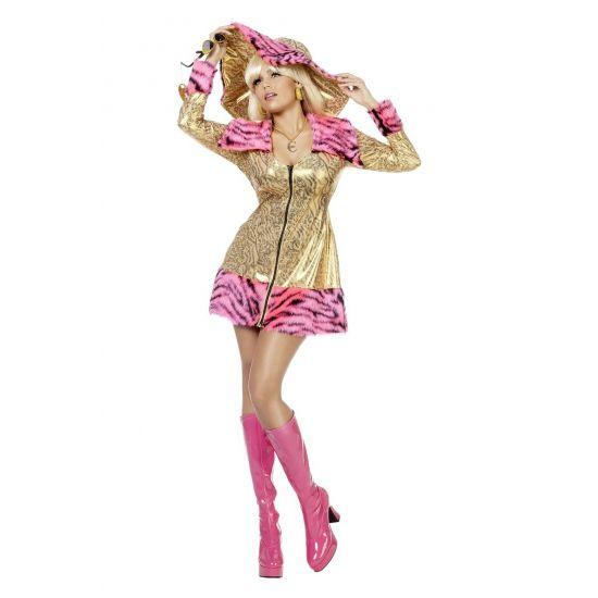 Gouden pimpette jas voor dames. Luxe jasje met rits en met gouden tijger motief, afgezet met een roze en zwart zebra motief. Leuke jas voor dames om uw pimp outfit helemaal compleet te maken. Carnavalskleding 2015 #carnaval