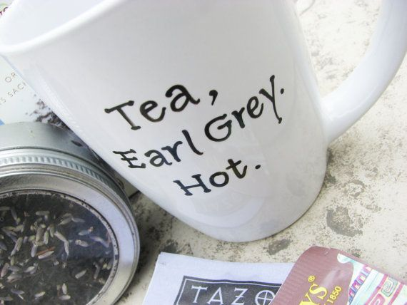 Earl Grey Tea Mug with Quotation from JeanLuc by winemakerssister