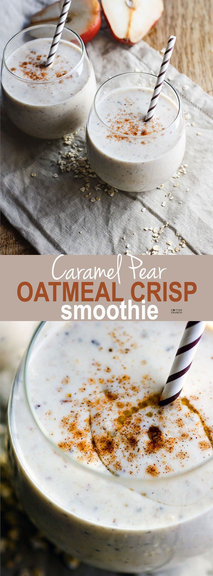 Creamy Caramel Pear Oatmeal Crisp Smoothie {Gluten Free}