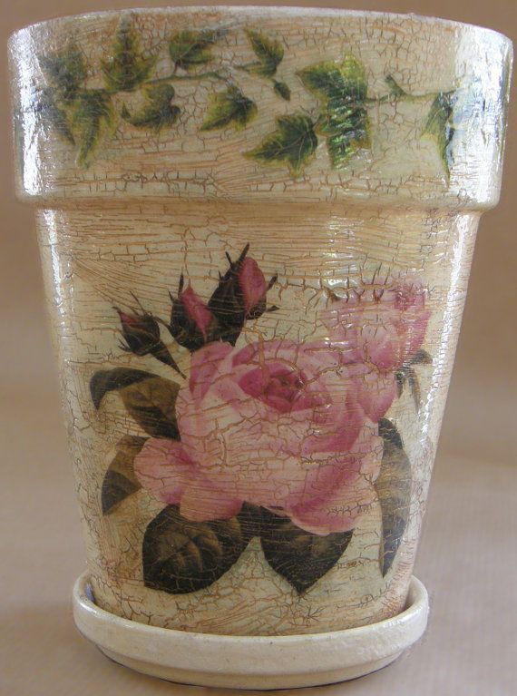 The pink rose motive flower pot medium by AmaranthCat on Etsy