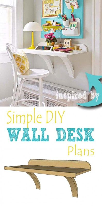 Build a simple DIY wall desk to create a functional office nook or homework station.  Free plans on @Remodelaholic.