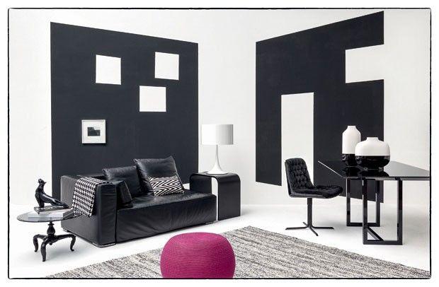 Preto e branco, mas com uma surpresa - Casa Vogue | Interiores. Tecido pied-de-poule 100% poliéster, da Bauhaus.