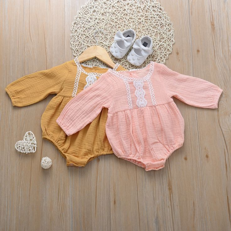 Baby Girl Solid Lace Hollow Style Long-sleeve Romper