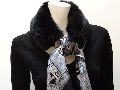 Faux fur collar - Noir