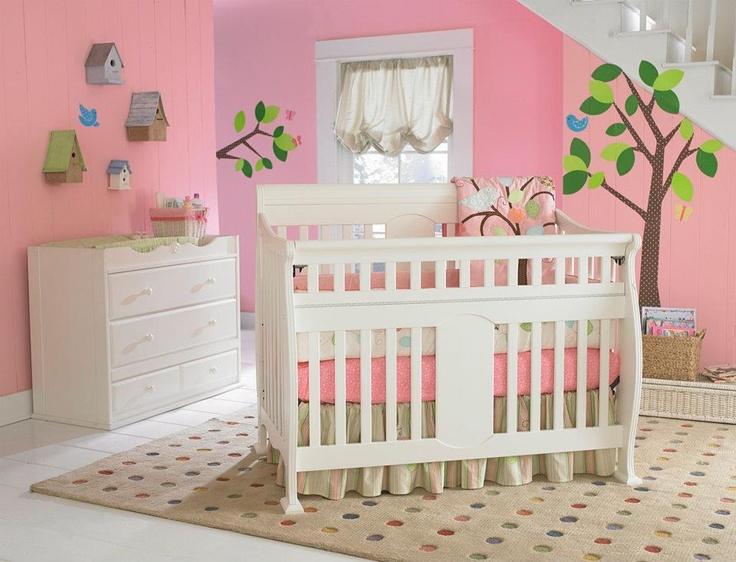 Kathryn Safety Gate Crib In Snowdrift Finish. #Kathryn #crib #baby #