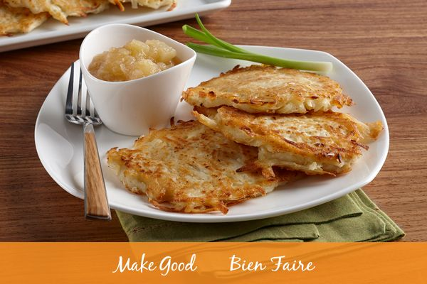 Mmmmmmm Potato Latkes! This traditional Hanukkah dish is a cross between pancakes and hashbrowns - yes, we know, they're pretty amazing! Find this recipe here: https://www.makegood.ca/content/potato-latkes #makegood #recipe #hanukkah #tradition #latkes #festive