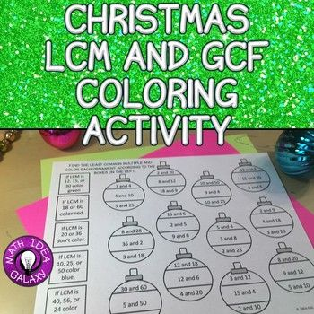 This Christmas math activity will help students practice finding the greatest common factor, gcf, and the least common multiple, lcm, with a festive holiday flare. There are 36 gcf problems and 36 lcm problems to complete.