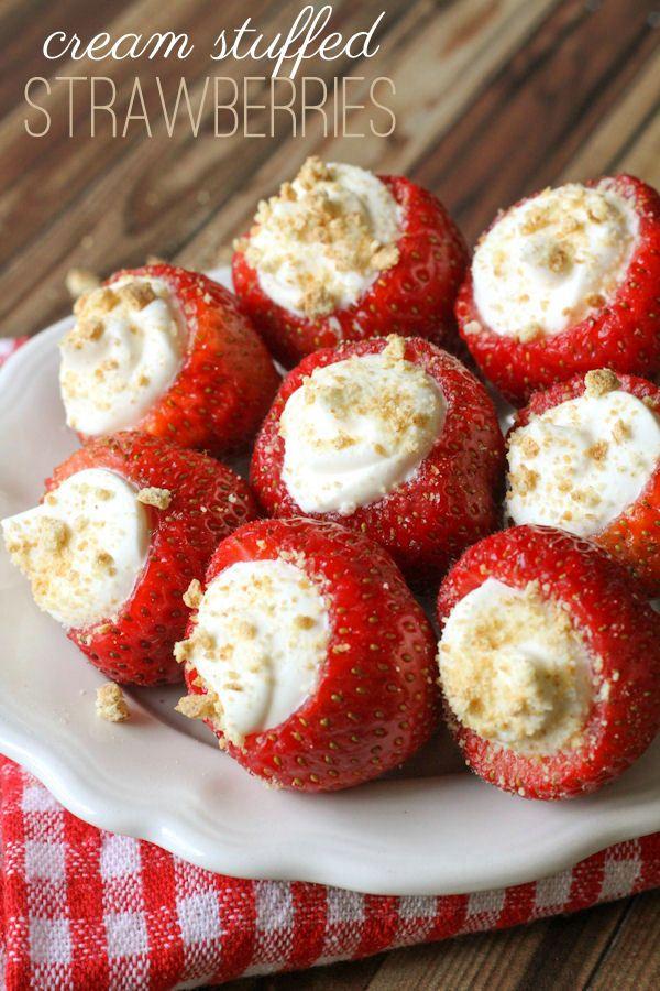 Super delicious Cream Stuffed Strawberries - a quick and yummy treat everyone will love! { lilluna.com }