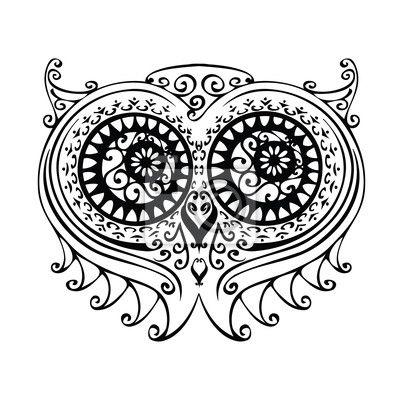 dekoracyjne-ilustracji-sowa-darmowe-strony-rysunku.jpg (400×400)